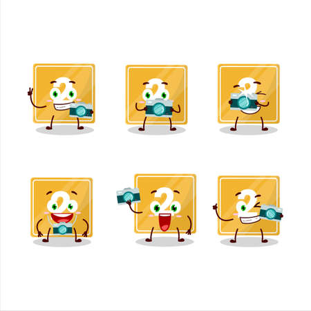 Photographer profession emoticon with toys block two cartoon character Ilustracja