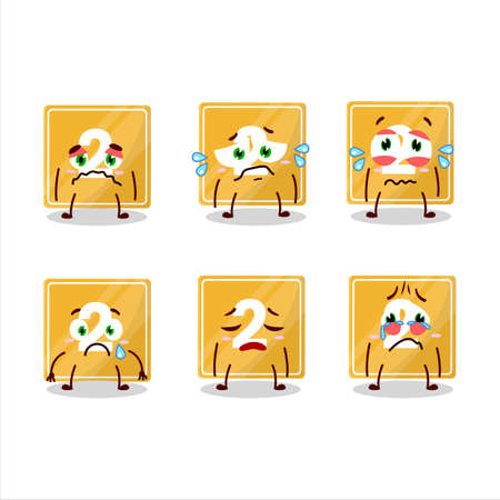 Toys block two cartoon character with sad expression Ilustracja