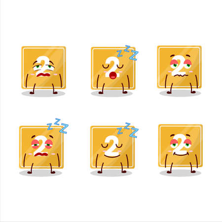 Cartoon character of toys block two with sleepy expression