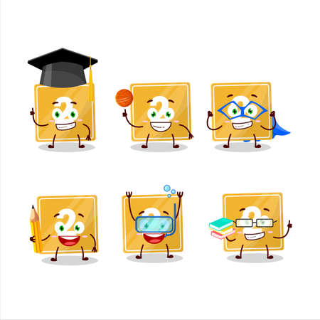 School student of toys block two cartoon character with various expressions Ilustracja