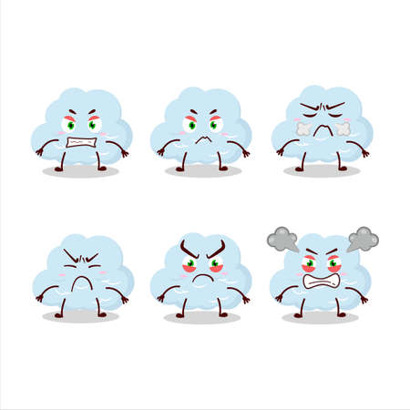 Blue cloud cartoon character with various angry expressions Ilustracja