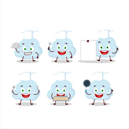 Cartoon character of blue cloud with various chef emoticons