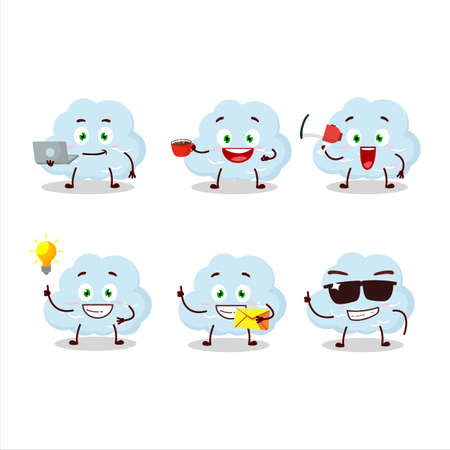 Blue cloud cartoon character with various types of business emoticons