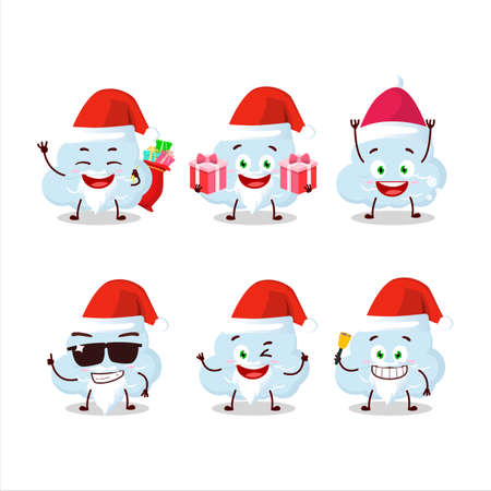 Santa Claus emoticons with blue cloud cartoon character