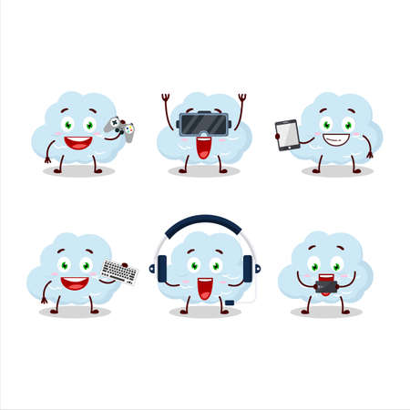 Blue cloud cartoon character are playing games with various cute emoticons