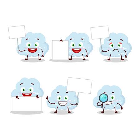 Blue cloud cartoon character bring information board
