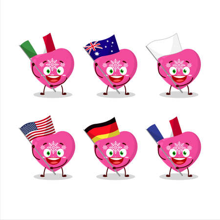 Love pink christmas cartoon character bring the flags of various countries