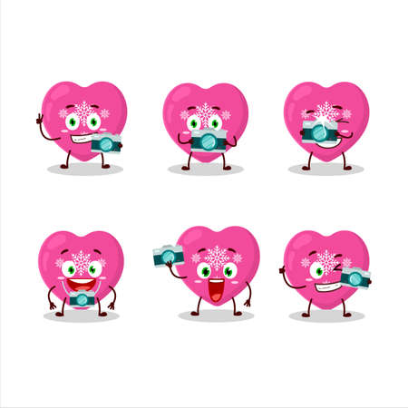 Photographer profession emoticon with love pink christmas cartoon character