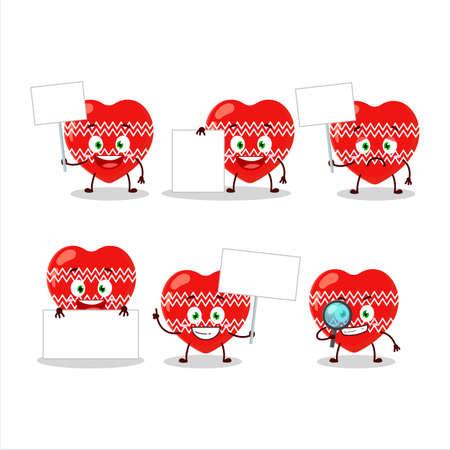 Love red christmas cartoon character bring information board Stock Illustratie