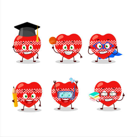 School student of love red christmas cartoon character with various expressions