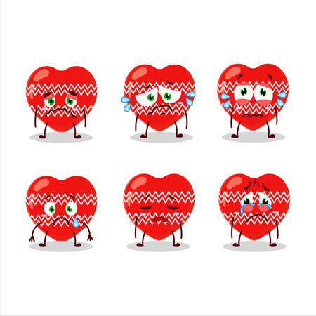 Love red christmas cartoon character with sad expression