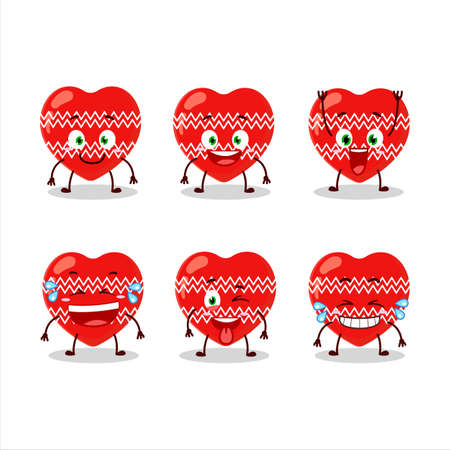 Cartoon character of love red christmas with smile expression 向量圖像