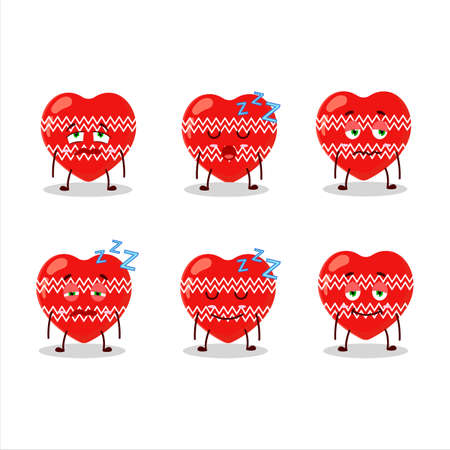 Cartoon character of love red christmas with sleepy expression 向量圖像