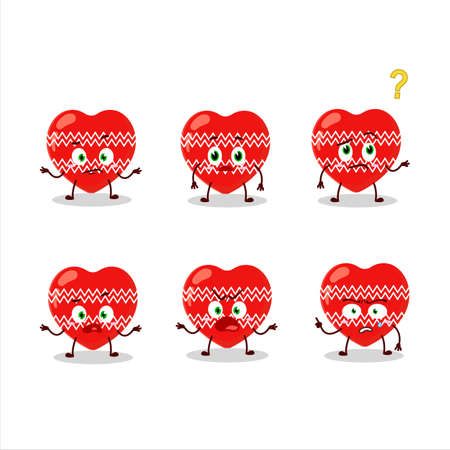 Cartoon character of love red christmas with what expression