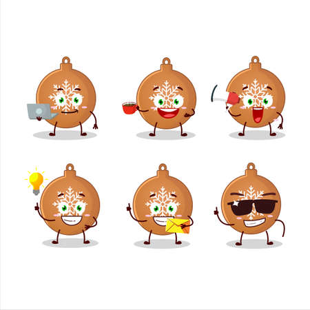 Christmas ball cookies cartoon character with various types of business emoticons 向量圖像