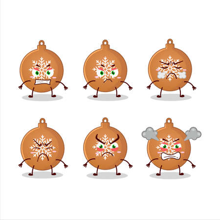 Christmas ball cookies cartoon character with various angry expressions 向量圖像
