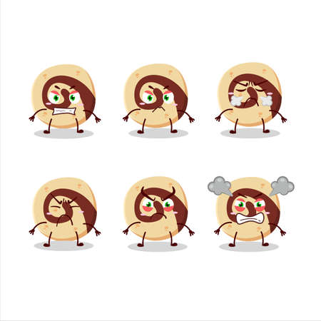 Spiral biscuit cartoon character with various angry expressions 向量圖像