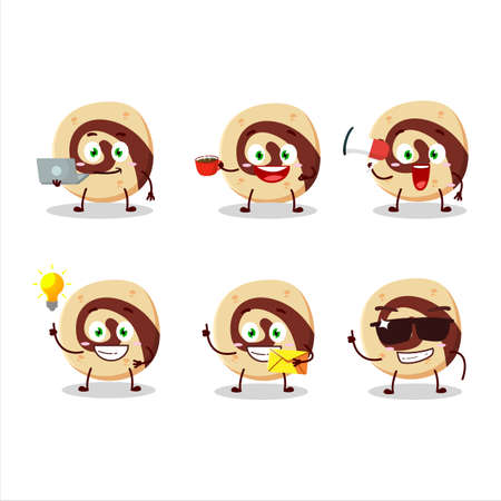 Spiral biscuit cartoon character with various types of business emoticons