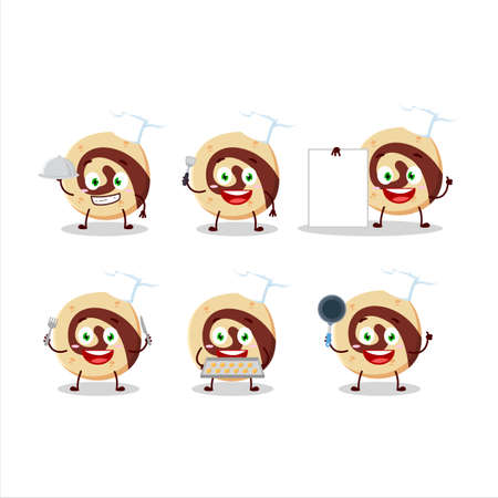 Cartoon character of spiral biscuit with various chef emoticons Vectores