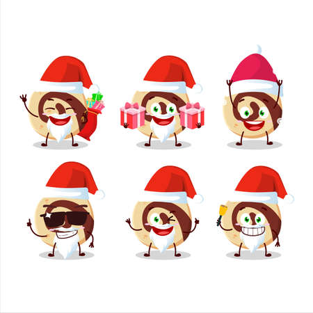 Santa Claus emoticons with spiral biscuit cartoon character Vectores