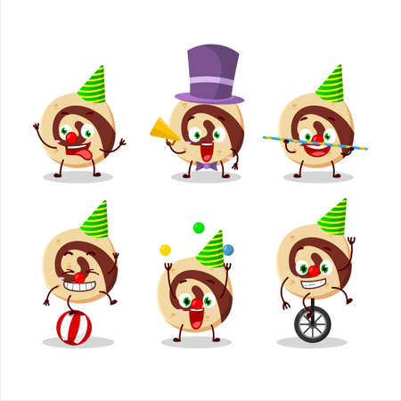 Cartoon character of spiral biscuit with various circus shows