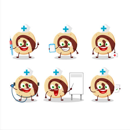 Doctor profession emoticon with spiral biscuit cartoon character Vectores
