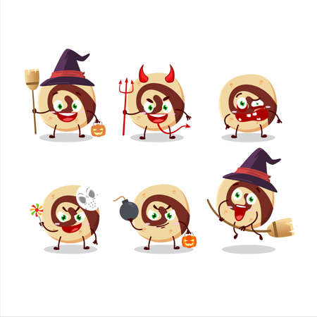 Halloween expression emoticons with cartoon character of spiral biscuit Vectores
