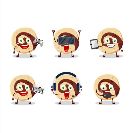 Spiral biscuit cartoon character are playing games with various cute emoticons