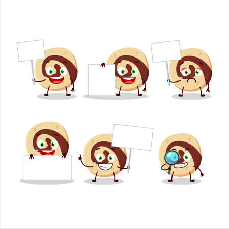 Spiral biscuit cartoon character bring information board 矢量图像