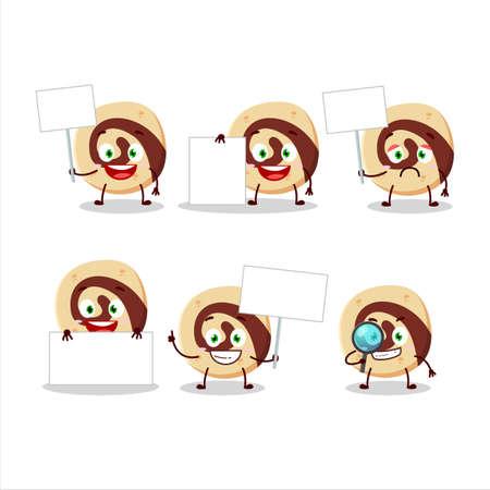 Spiral biscuit cartoon character bring information board Vectores
