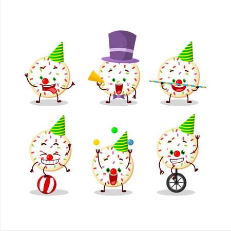Cartoon character of sugar cookies with various circus shows