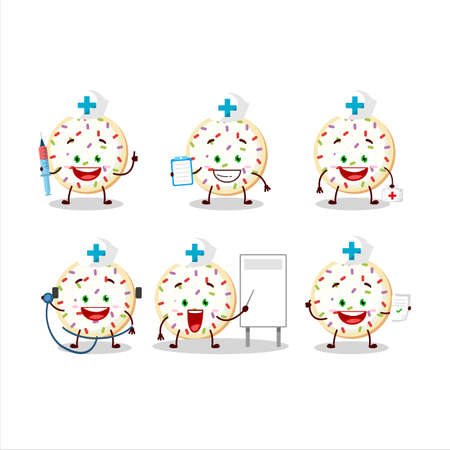 Doctor profession emoticon with sugar cookies cartoon character