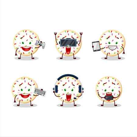 Sugar cookies cartoon character are playing games with various cute emoticons 免版税图像 - 163084932
