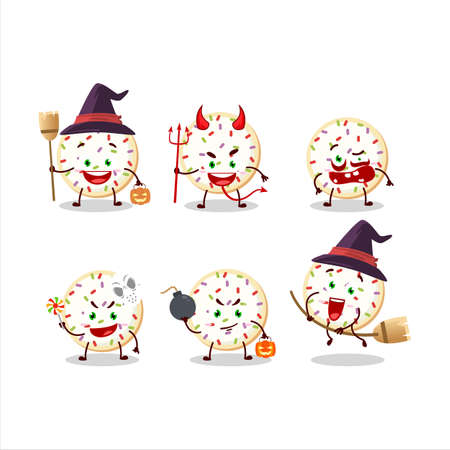 Halloween expression emoticons with cartoon character of sugar cookies