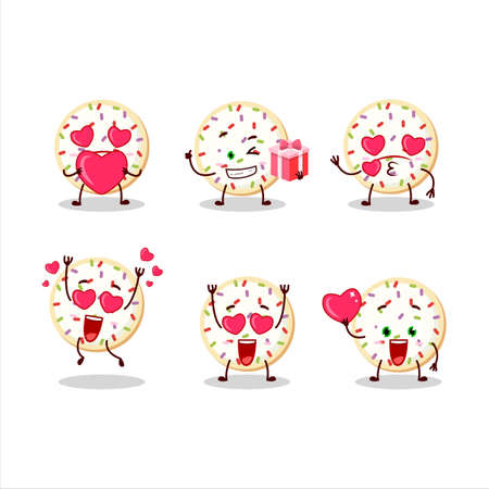 Sugar cookies cartoon character with love cute emoticon
