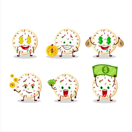Sugar cookies cartoon character with cute emoticon bring money