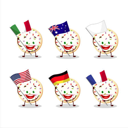 Sugar cookies cartoon character bring the flags of various countries