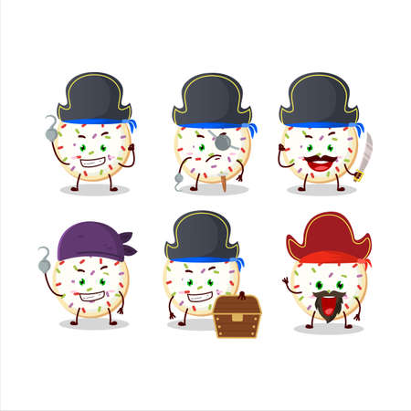 Cartoon character of sugar cookies with various pirates emoticons