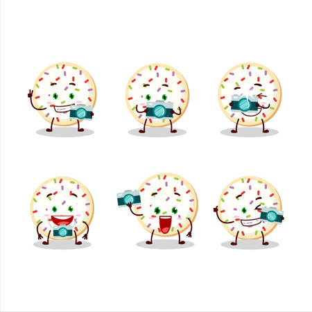 Photographer profession emoticon with sugar cookies cartoon character