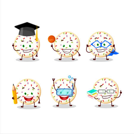 School student of sugar cookies cartoon character with various expressions
