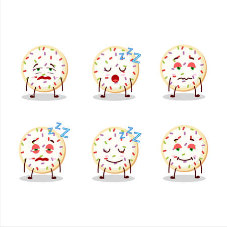 Cartoon character of sugar cookies with sleepy expression
