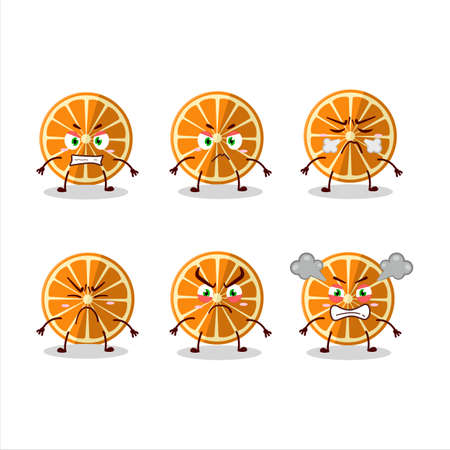 New orange cartoon character with various angry expressions 向量圖像