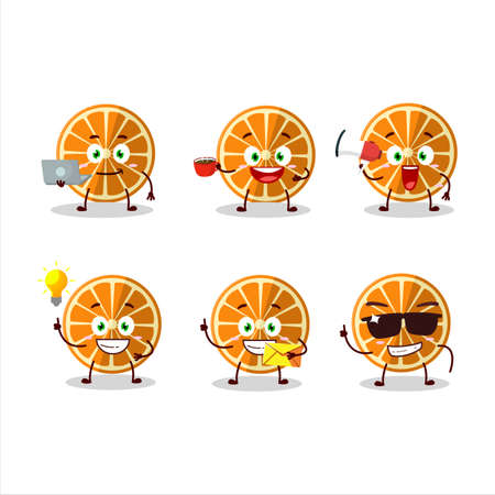 New orange cartoon character with various types of business emoticons