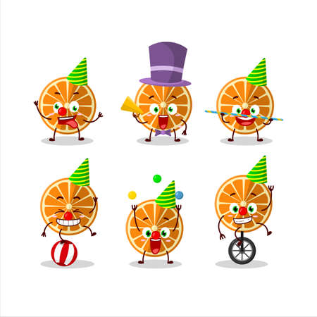 Cartoon character of new orange with various circus shows