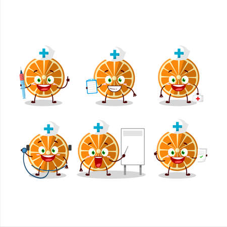 Doctor profession emoticon with new orange cartoon character