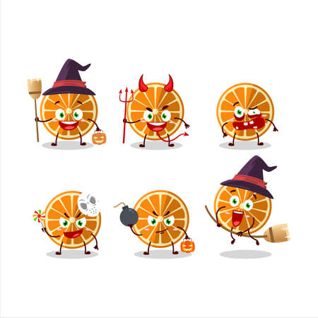 Halloween expression emoticons with cartoon character of new orange