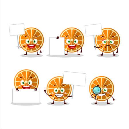 New orange cartoon character bring information board Vectores