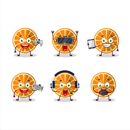 New orange cartoon character are playing games with various cute emoticons Vectores