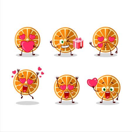 New orange cartoon character with love cute emoticon
