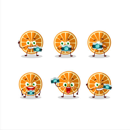 Photographer profession emoticon with new orange cartoon character